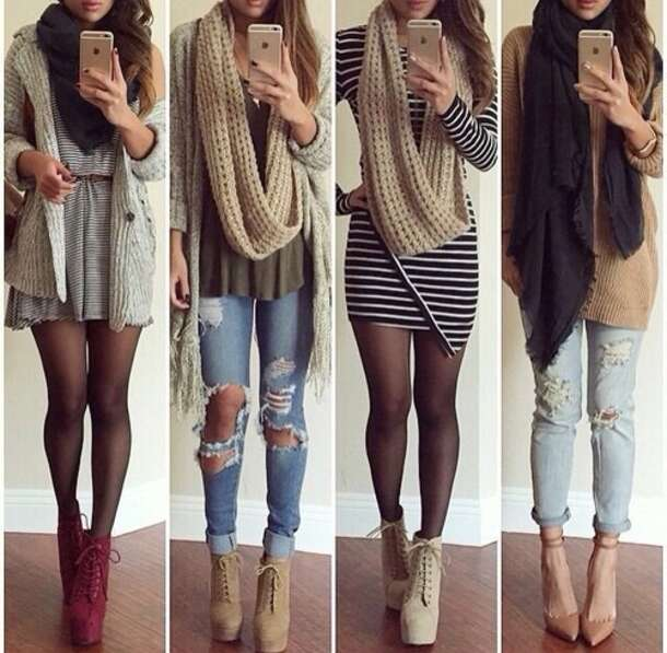 cardigan dress scarf shoes jeans t-shirt sweater bag