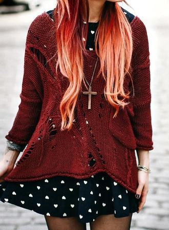 burgundy burgundy sweater heart oversized sweater dress