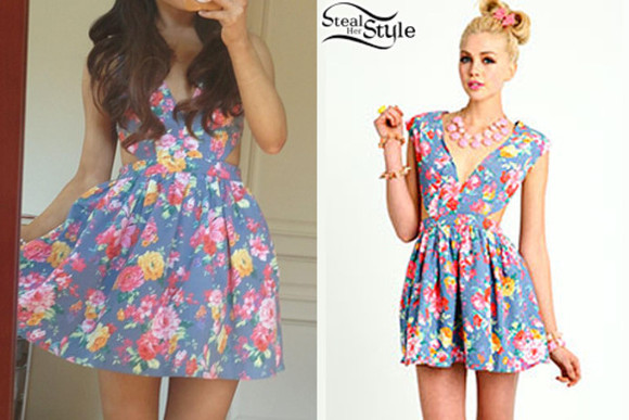 dress ariana grande floral dress blue floral cutout inset charlotte russe ariana grande butera twitter tank dress flowers flower dress