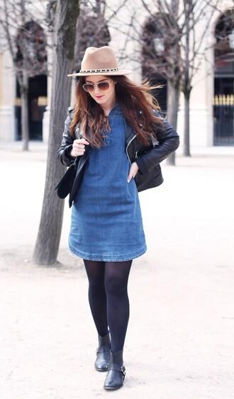 elodie in paris blogger denim dress fedora leather jacket