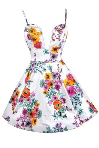 dress white dress floral dress deep v neck dress sleeveless