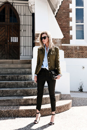 oracle fox blogger jacket sandals military style cropped blue shirt black pants