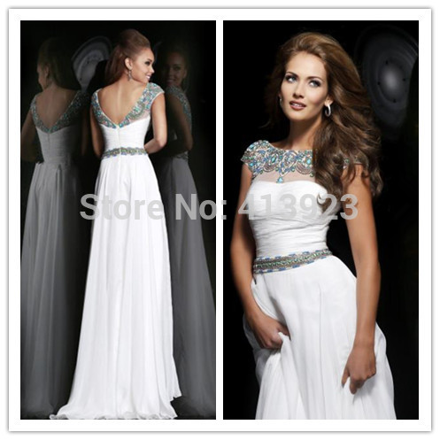 Aliexpress.com : Buy 2014 Real Photos Chiffon High End Quality A Line white Color See Through Elegant Long Prom Dress from Reliable prom dress from china suppliers on Chaozhou City Xin Aojia dress Factory