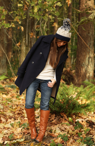 dress corilynn blogger jeans jewels pom pom beanie pea coat brown leather boots jacket
