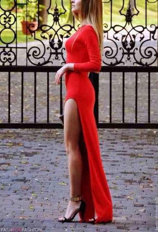 dress red red dress formal homecoming long slit dress maxi dress asymmetrical long prom dress