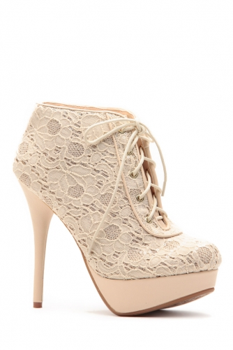 Glazed in glitter nude floral lace platform booties @ cicihot. booties spell style, so if you want to show what you're made of, pick up a pair. have fun experimenting with all we have to offer!