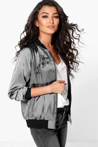 jacket bomber jacket satin bomber embroidered bomber jacket grey bomber grey satin bomber 36683