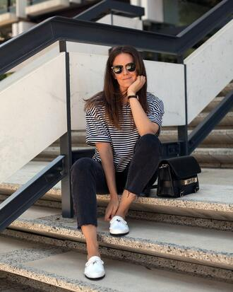 inspiring wit blogger t-shirt jeans bag sunglasses jewels loafers striped t-shirt spring outfits