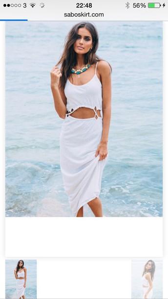 dress summer beach white casual hippie tan