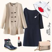 beige coat,ruffle coat,navy dress,cutout back dress,mini dress,transparent bag,khaki bag,handbag,rainy outfit,neutral colors,cute coats,rainy weather,bag