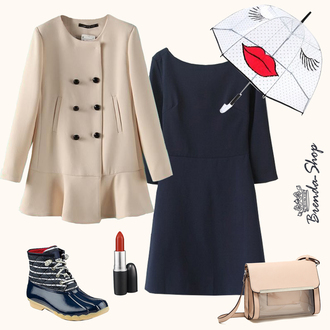 bag beige coat ruffle coat navy dress cutout back dress mini dress transparent bag khaki bag handbag rainy outfit neutral colors cute coats rainy weather