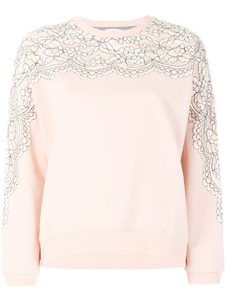 Twin-Set sweatshirt women lace nude cotton print sweater