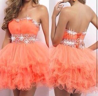 dress glitter dress glitter orange orange dress dress orange pink prom dress blonde hair beautiful short puffy