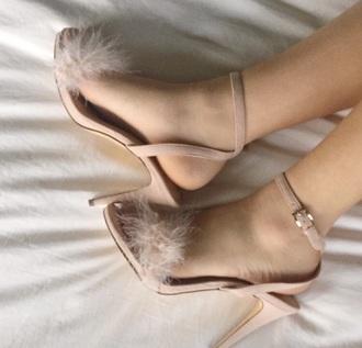 shoes high heels fluffy fluffy heels nude pink heels nude heels fluffy nude heels sandal heels high heel sandals