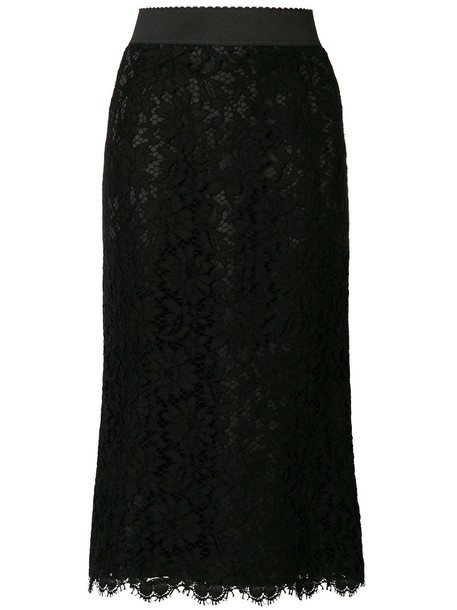 Dolce & Gabbana - lace overlay skirt - women - Silk/Cotton/Nylon/Viscose - 46, Black, Silk/Cotton/Nylon/Viscose