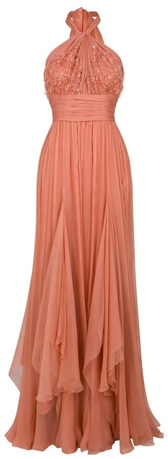 dress flowy peach goddess goddess dress elegant boho dress