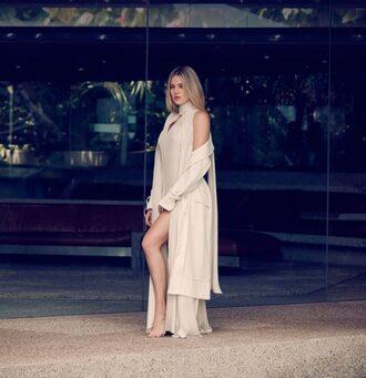 dress editorial khloe kardashian coat kardashians slit dress maxi dress nude dress cream
