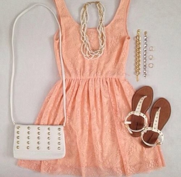 dress bag shoes set studded pink dress casual dress lace studs sandals jewelry jewels pink coral fashion