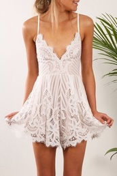 dress,romper,playful,jumpsuit,omg so cute,white,bad girl yet innocent,sweet,lace dress,white dress,romer,lace,cricket,fashion,summer,spring,ss16,summer dress,summer outfits,summer holidays,good vibe,summer vibe,sexy dress,white romper,white lace romper,lace romper,pretty,lilac,sheer