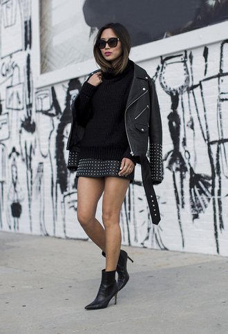 song of style blogger studded skirt studs high heels boots studded jacket black leather jacket leather jacket all black everything knitted sweater winter outfits dress