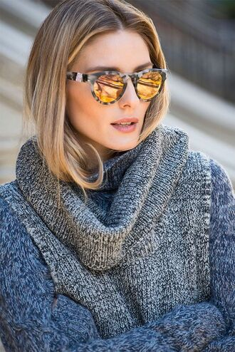 sweater grey sunglasses olivia palermo