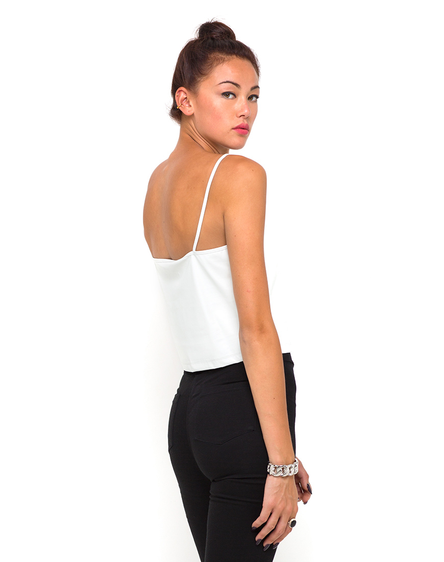 Buy motel ibis cami top in white faux leather at motel rocks