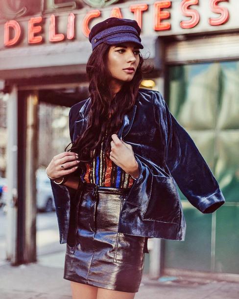 jacket tumblr blazer blue blazer velvet velvet blazer hat top skirt mini skirt leather skirt black leather skirt