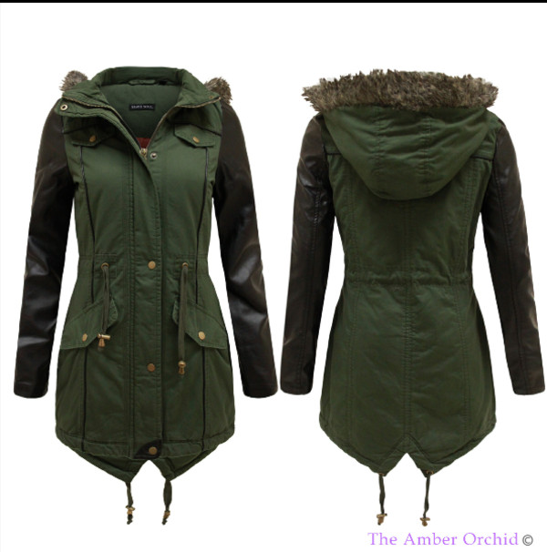 NEW LADIES WOMENS FAUX LEATHER PVC SLEEVE FUR HOODED MILITARY ...