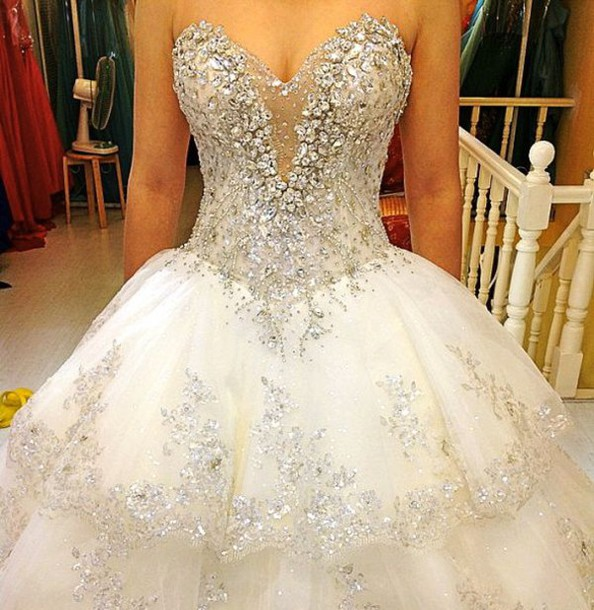 Dress: wedding dress, bling dress, white dress, white, diamonds ...