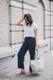 t-shirt,tumblr,white t-shirt,pants,blue pants,stripes,striped pants,wide-leg pants,shoes,mules,bag,tote bag