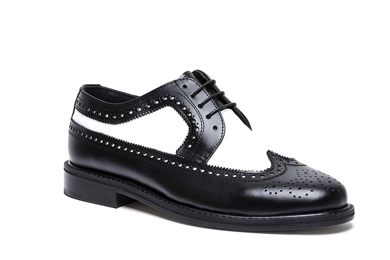 Amazon.com | Brentano Black White Wingtip Spectator Vintage Style Brogue Shoes for Men (10M) | Oxfords