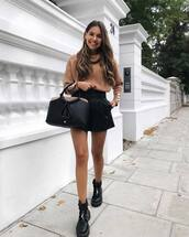 bag,handbag,leather bag,black boots,shorts,jumper