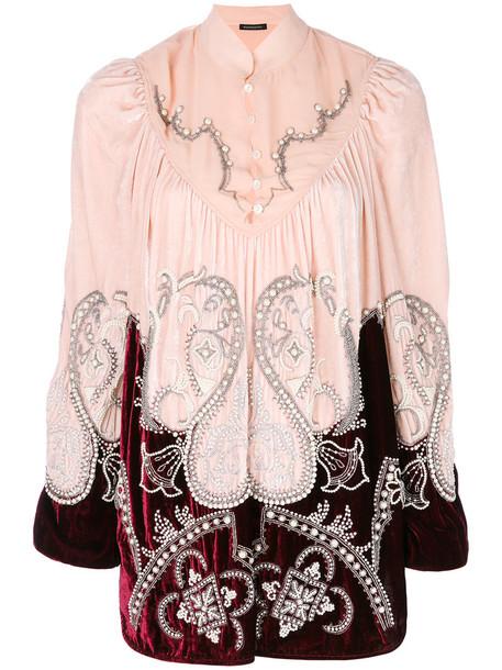 blouse women pearl embellished silk velvet purple pink top