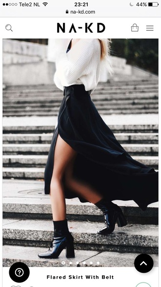 skirt na-kd maxi skirt maxi trendy black fashion style fall outfits
