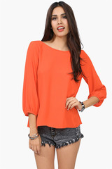 Orange Back Bow Blouse