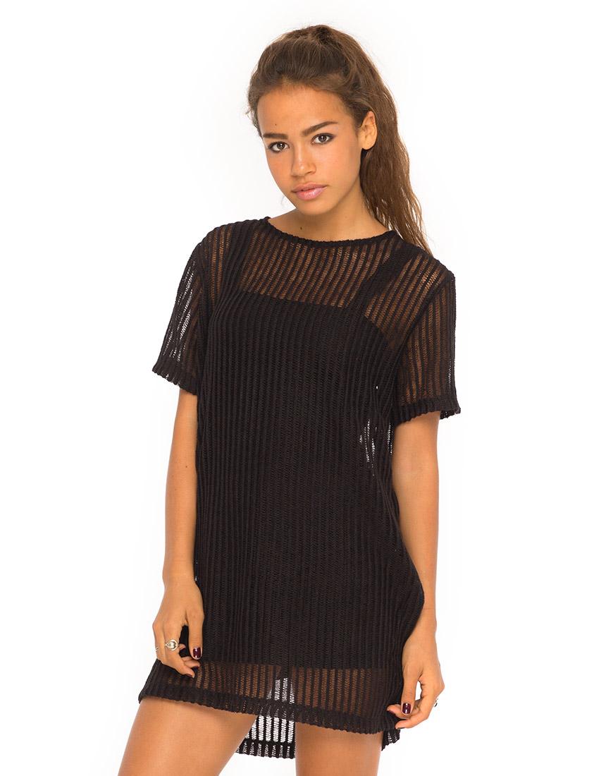 Motel sundial oversized tee dress in black ladder knit