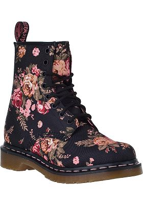 Dr. Martens 1460 Lace-up Boot Black Floral Fabric - Jildor Shoes, Since 1949