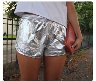 shorts metallic silver