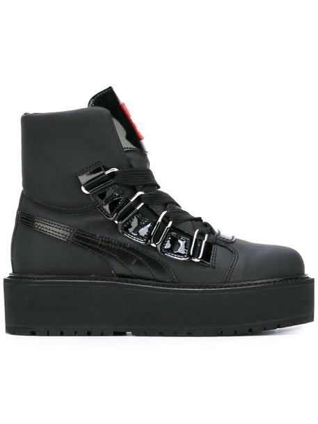 puma women boots platform boots lace black shoes