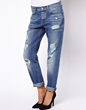 ASOS | ASOS Brady Slim Boyfriend Jeans in Vintage Wash with Rips at ASOS
