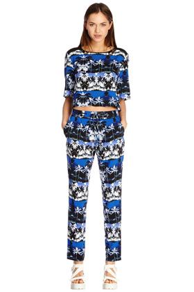 Co-Ord | Blau Crop-Shirt mit Palmenprint | Damenmode | Warehouse
