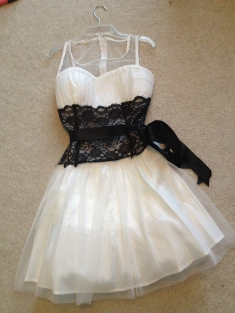 dress black white black lace black bow