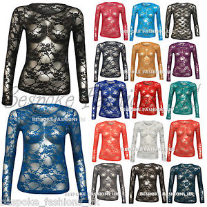 Ladies Long Sleeve Floral Lace Tee Tops Women's T-Shirt 8, 10, 12 Many Colours | eBay