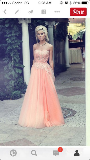 dress peach chiffon strapless sweetheart neckline cinched waist coral dress long prom dress salmon pink peach