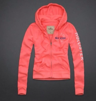 jacket peach coral hollister hoodie hollister&co