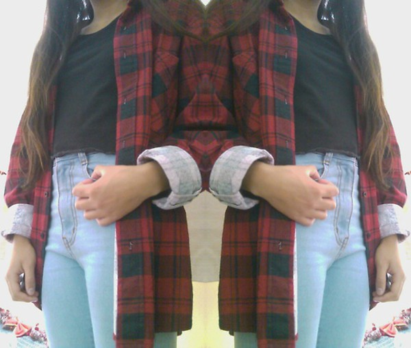 grunge cardigan jeans flannel shirt shirt