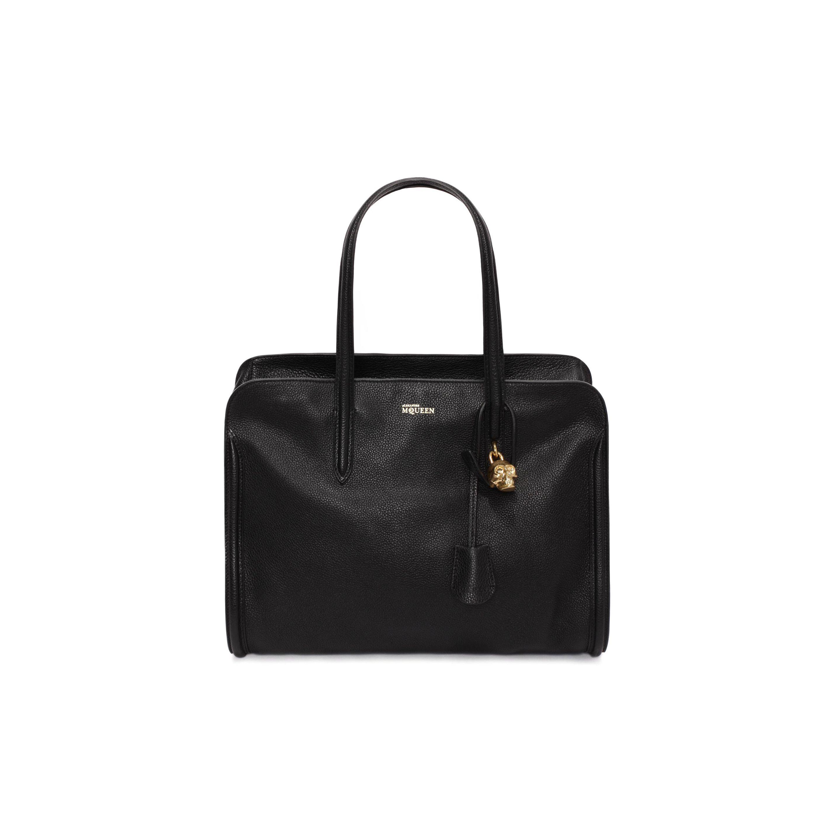Grainy leather skull padlock top handle bag alexander mcqueen