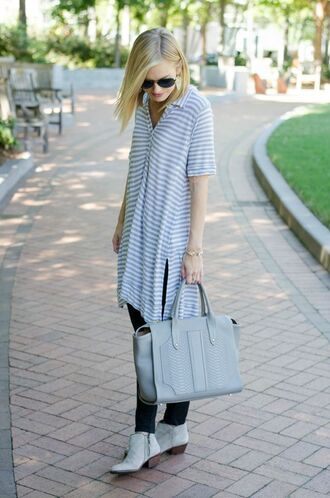 life with emily blogger ankle boots polo dress striped dress