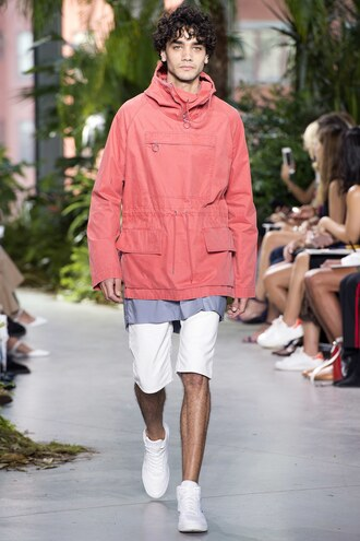 jacket shorts menswear mens t-shirt mens shoes mens jacket runway model ny fashion week 2016 lacoste