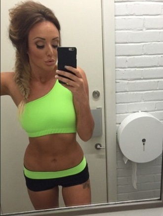 top neon neon green sportswear shorts fit fitness sports bra charlotte crosby new year's eve